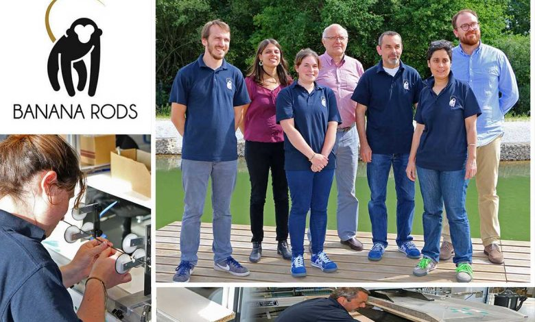 Une partie de l'équipe Banana Rods, tous qualifiés pour effectuer des tâches studieuses et spécifiques au montage de cannes à pêche.